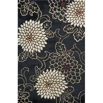 Olivia Hand-Tufted Black/White Area Rug Rug Size: 36 x 56