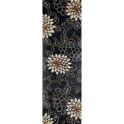 Olivia Hand-Tufted Black/White Area Rug Rug Size: Runner 26 x 8