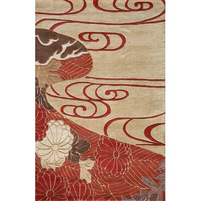 Olivia Hand-Woven Red/Ivory Rug Rug Size: Rectangle 36 x 56