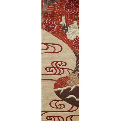 Olivia Hand-Woven Red/Ivory Rug Rug Size: Runner 26 x 8