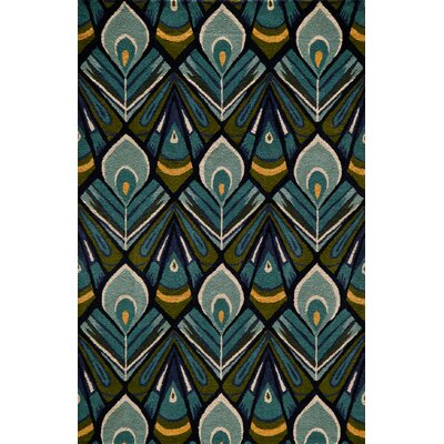 Elvera Hand-Tufted Peacock Area Rug Rug Size: Rectangle 36 x 56