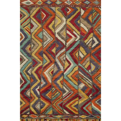 Zaria Hand-Knotted Red/Brown Area Rug Rug Size: Rectangle 56 x 86