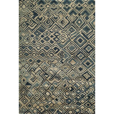 Zaria Hand-Knotted Teal/Cream Rug Rug Size: Rectangle 8 x 11