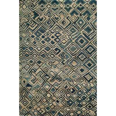 Zaria Hand-Knotted Teal/Cream Rug Rug Size: Rectangle 36 x 56