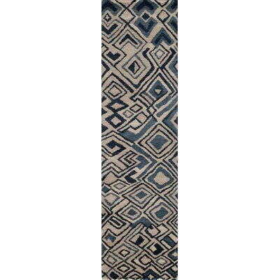 Zaria Hand-Knotted Teal/Cream Rug Rug Size: Runner 23 x 8