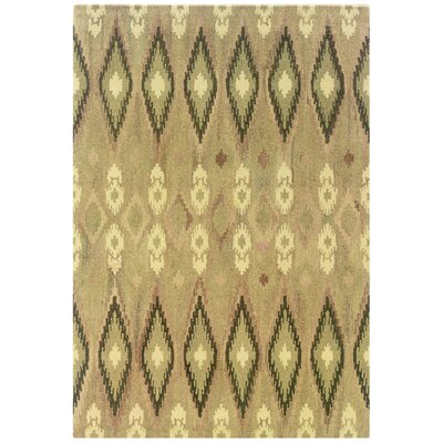 Mireille Hand-Woven Beige/Green Area Rug Rug Size: Rectangle 5 x 8