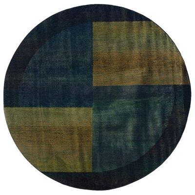 Sarabi Blue/Gold Area Rug Rug Size: Round 8