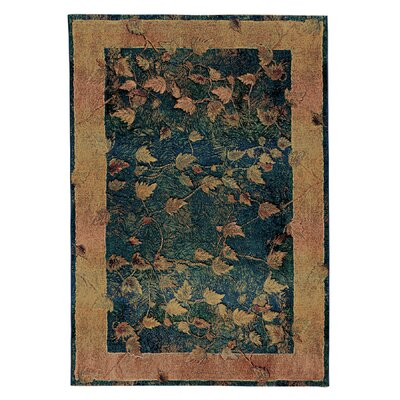 Rosabel Border Blue/Gold Area Rug Rug Size: Rectangle 53 x 76