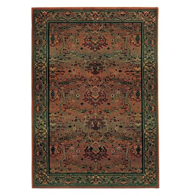 Rosabel Traditional Rust Red/Green Area Rug Rug Size: Rectangle 53 x 76