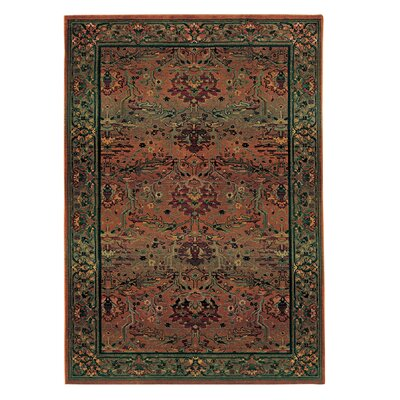 Rosabel Traditional Stain Resistant Red/Green Area Rug Rug Size: Round 6'