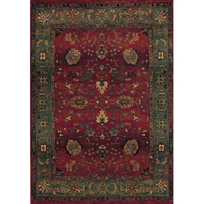 Rosabel Floral Red/Green Area Rug Rug Size: Round 8