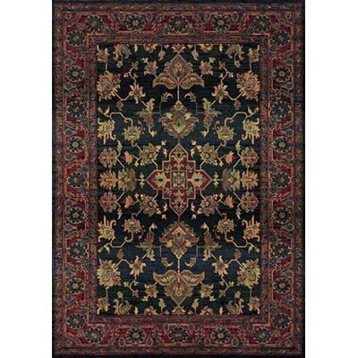 Justice Traditional Blue/Red Area Rug Rug Size: Round 8