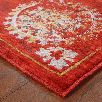 Knox Red/Gold Area Rug Rug Size: 53 x 76