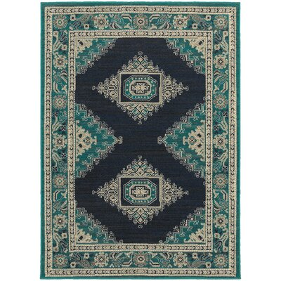 Petrina Blue/Ivory Area Rug Rug Size: Rectangle 67 x 96