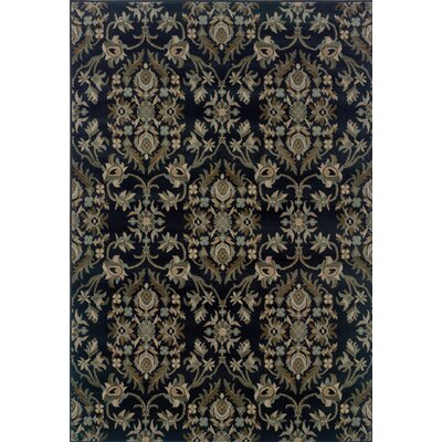 Silva Floral Navy/Gray Area Rug Rug Size: Rectangle 53 x 76