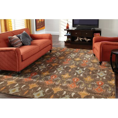 Byron Brown/Orange Area Rug Rug Size: 53 x 76