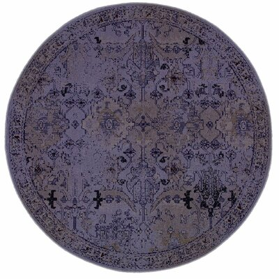 Davion Purple/Gray Area Rug Rug Size: Round 78