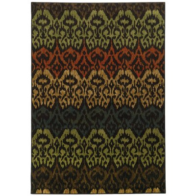 Jacoby Black/Green Area Rug Rug Size: 710 x 1010