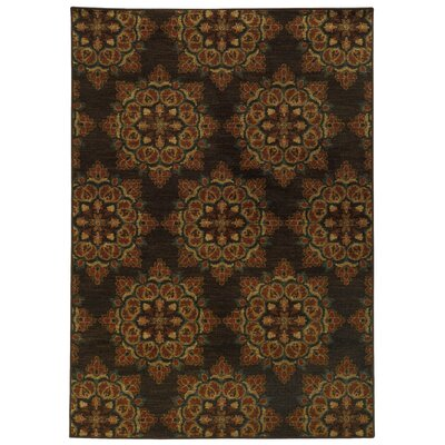 Prince Brown/Black Area Rug Rug Size: 53 x 76