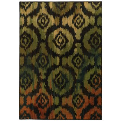 Prince Modern Black/Green Area Rug Rug Size: 310 x 55