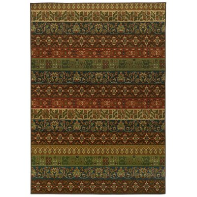 Prince Green/Red Area Rug Rug Size: Rectangle 53 x 76