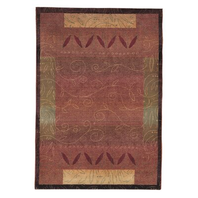 Rosabel Red/Gold Area Rug Rug Size: Round 8
