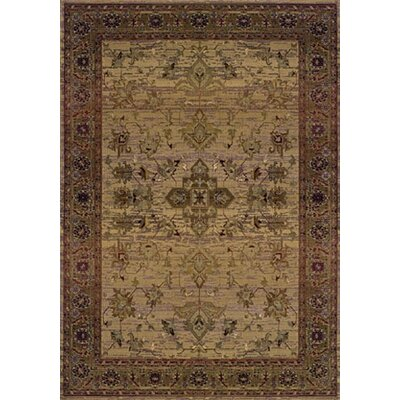 Rosabel Traditional Beige/Green Area Rug Rug Size: Rectangle 67 x 91