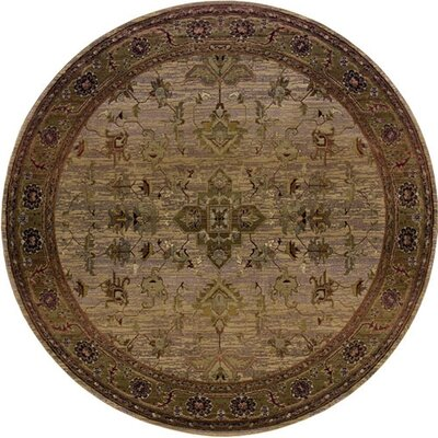 Rosabel Traditional Beige/Green Area Rug Rug Size: Round 8