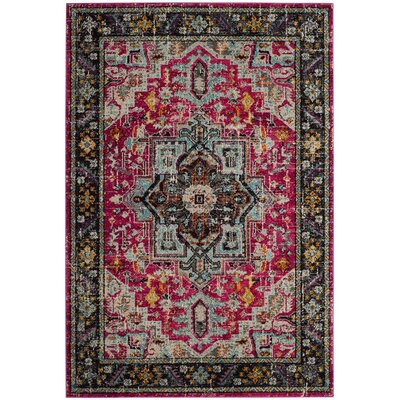 Filey Fuchsia/Gray Area Rug Rug Size: 4 x 57