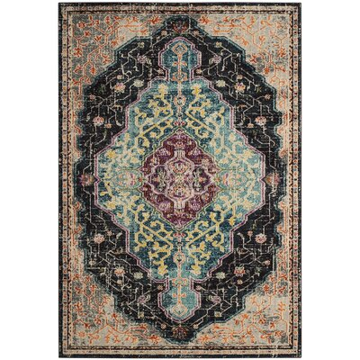 Doolin Black/Blue Area Rug Rug Size: Runner 22 x 8