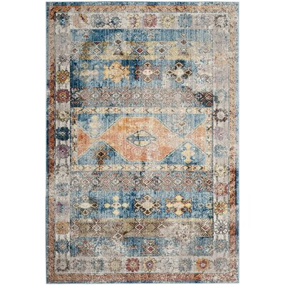 Skye Blue/Gray Area Rug Rug Size: Square 7