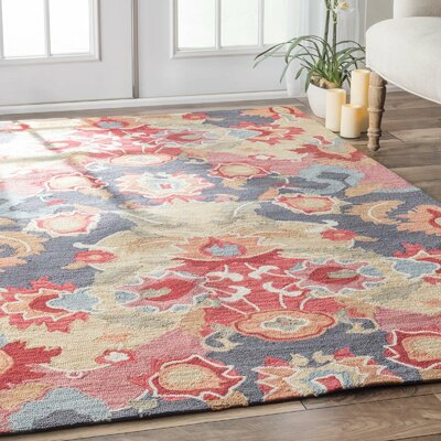Maastricht Blue/Red Area Rug Rug Size: 4 x 6