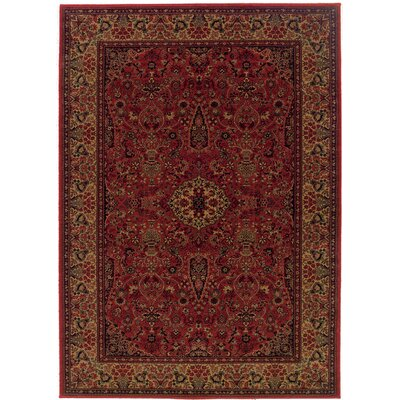 Amsbry Red/Gold Area Rug Rug Size: Rectangle 92 x 125
