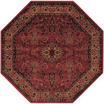 Amsbry Red/Gold Area Rug Rug Size: Octagon 53