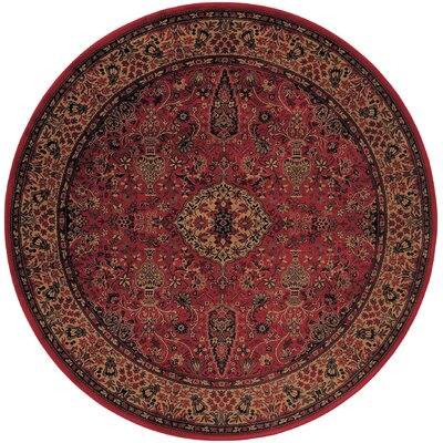 Amsbry Red/Gold Area Rug Rug Size: Round 710