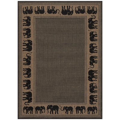 Sawtelle Black/Beige Indoor/Outdoor Area Rug Rug Size: 39 x 55