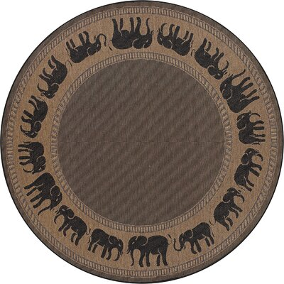 Sawtelle Black/Beige Indoor/Outdoor Area Rug Rug Size: Round 86