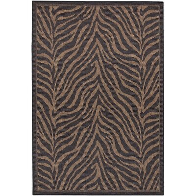 Sawtelle Black Indoor/Outdoor Area Rug Rug Size: 53 x 76