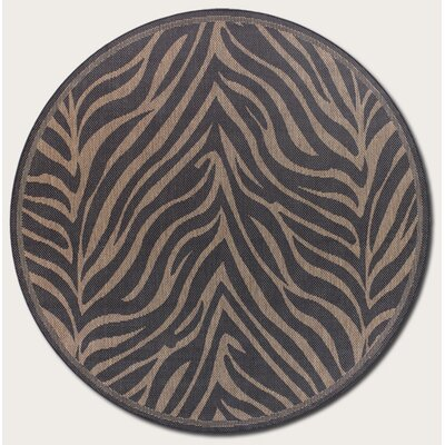 Sawtelle Black Indoor/Outdoor Area Rug Rug Size: Round 76