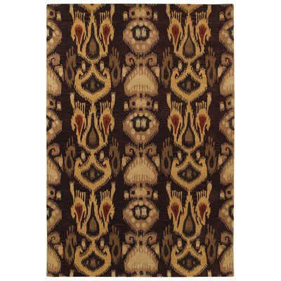 Aprie Hand-Woven Burgundy/Gold Area Rug Rug Size: 36 x 56