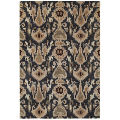 Aprie Hand-Woven Black/Beige Area Rug Rug Size: Rectangle 36 x 56
