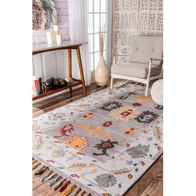 Watts Hand-Tufted Gray Area Rug Rug Size: Rectangle 5 x 8