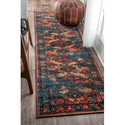 Walls Blue/Red Area Rug Rug Size: Rectangle 67 x 9
