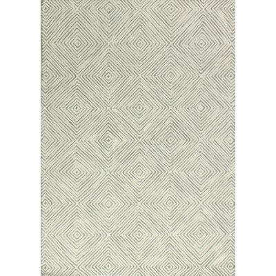 Sam Hand-Tufted Ivory/Grey Area Rug Rug Size: 7'6