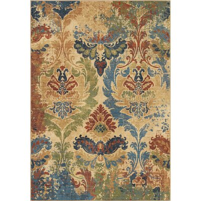 Ponce Moroccan Damask�Beige Area Rug Rug Size: 53 x 76