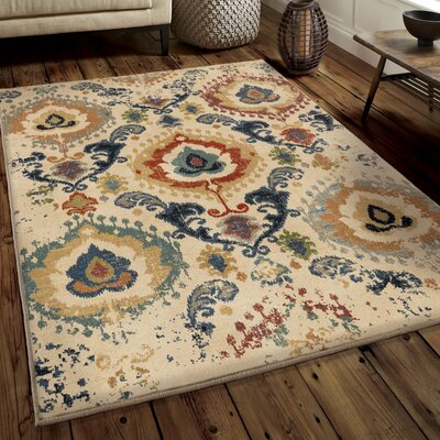 Ponce Moroccan Scroll�Beige/Beige Area Rug Rug Size: 53 x 76