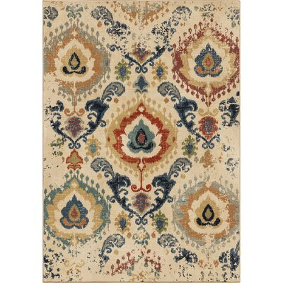 Ponce Moroccan Scroll�Beige/Beige Area Rug Rug Size: 710 x 1010