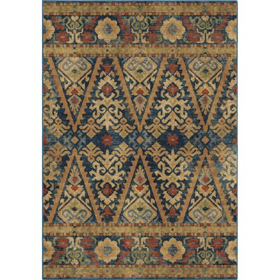 Ponce Eastern Scroll Blue Area Rug Rug Size: 53 x 76