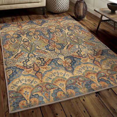 Ponce Beige/Green/Blue Area Rug Rug Size: 53 x 76