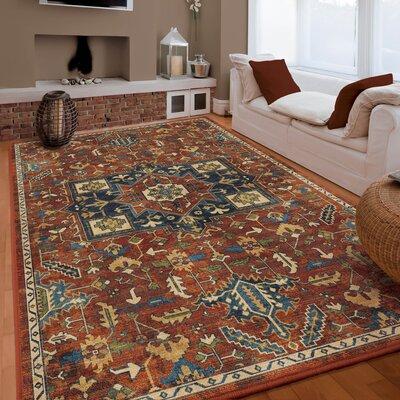 Noel Antique Merekan Red/Blue Area Rug Rug Size: 53 x 76